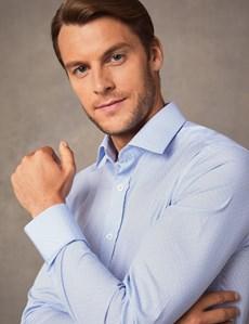 Men's Formal Blue & White Geometric Print Extra Slim Fit Stretch Shirt  – Single Cuff