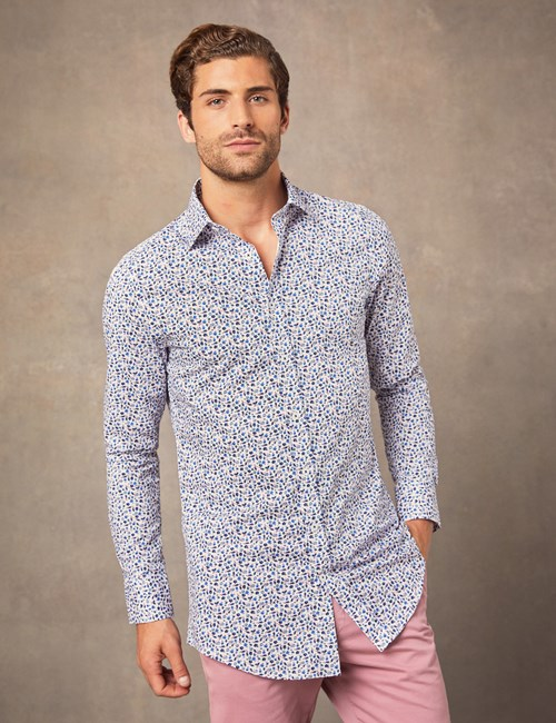 Men's Formal Blue & White Victorian Floral Extra Slim Fit Stretch Shirt  – Single Cuff