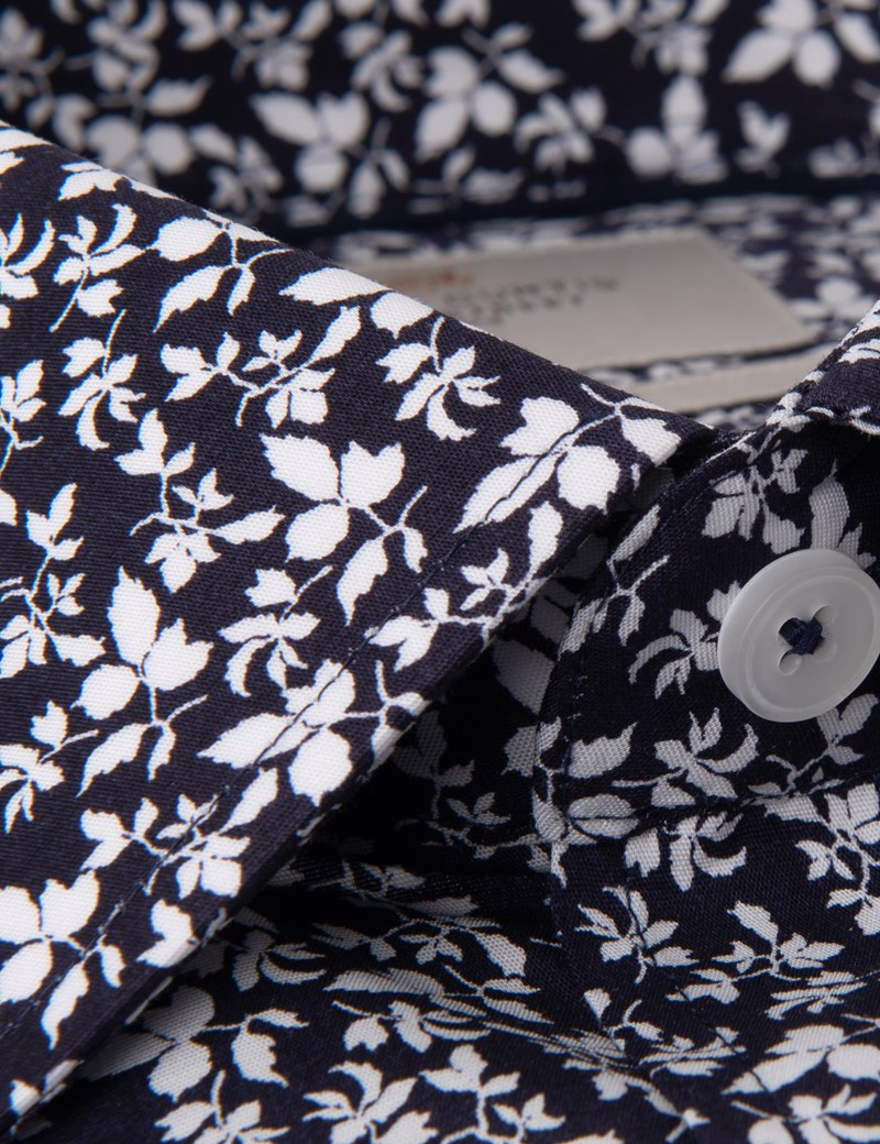 Men's Formal Navy & White Dante Leaves Print Extra Slim Fit Stretch Shirt  – Single Cuff