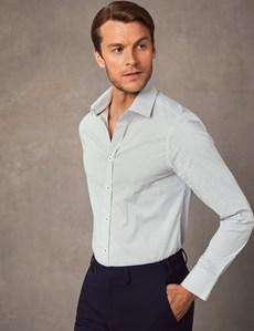 Men's Dress Blue & Green Spot Print Extra Slim Fit Stretch Shirt  – Single Cuff