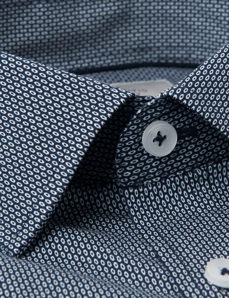 Business Stretchhemd – Slim Fit – Kentkragen – Print schwarz & weiß