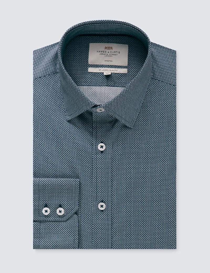 Men's Formal Black & White Print Slim Fit Cotton Stretch Shirt - Single Cuff