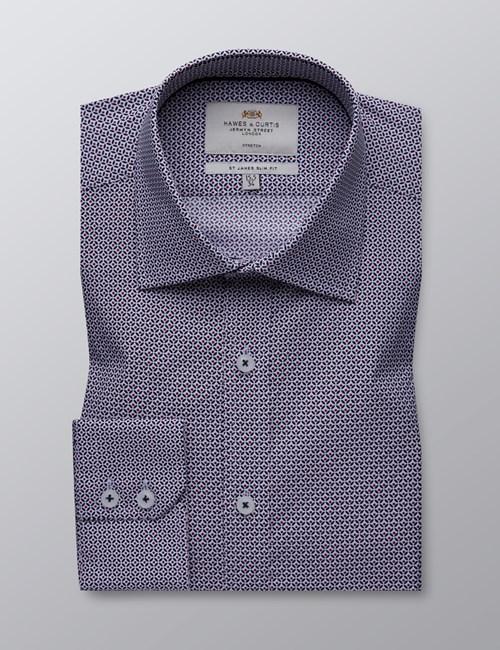 Men's Dress White & Navy Print Slim Fit Cotton Stretch Shirt - Single Cuff