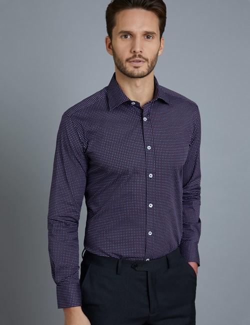 Men's Dress Navy & Red Disc Print Slim Fit Cotton Stretch Shirt - Single Cuff