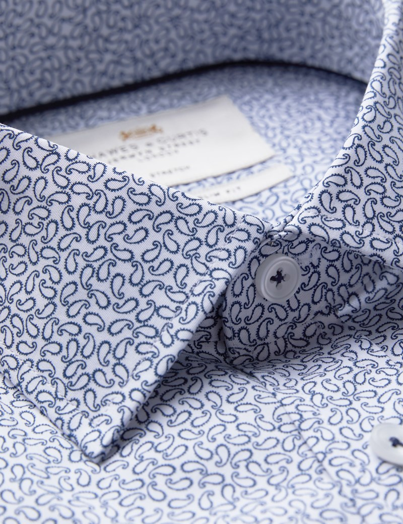 Men's Business White & Navy Paisley Slim Fit Cotton Stretch Shirt - Single Cuff