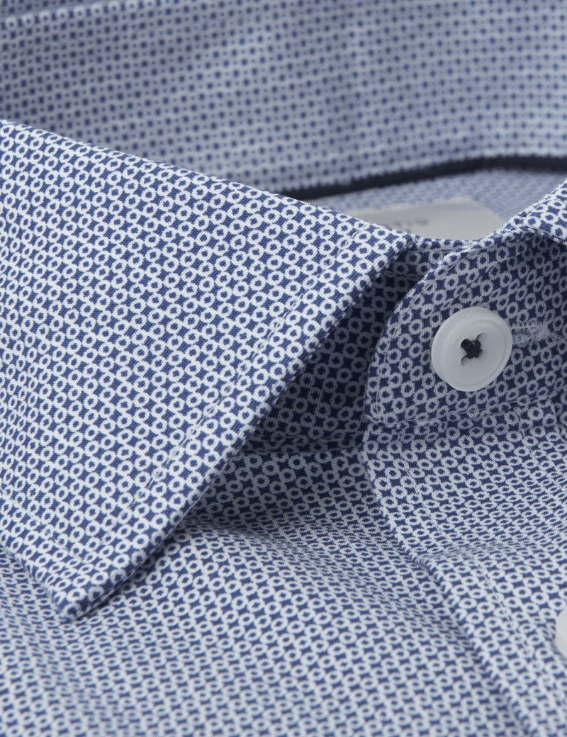 Men's Dress Blue & White Tiny Circle Print Slim Fit Cotton Stretch Shirt - Single Cuff