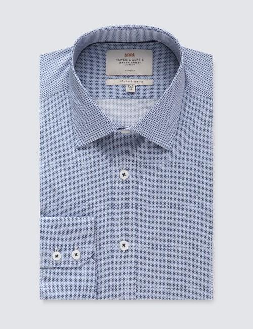Men's Dress Blue & White Tiny Circle Print Slim Fit Cotton Stretch Shirt - Single Cuff
