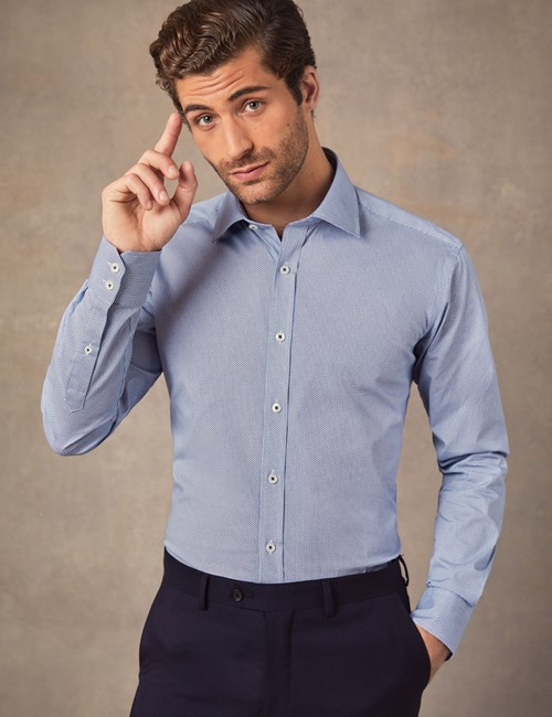 Men's Formal Blue & White Tiny Circle Print Slim Fit Cotton Stretch Shirt - Single Cuff
