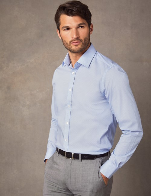 Men's Formal Blue & White Greyson Geometric Print Slim Fit Cotton Stretch Shirt - Single Cuff
