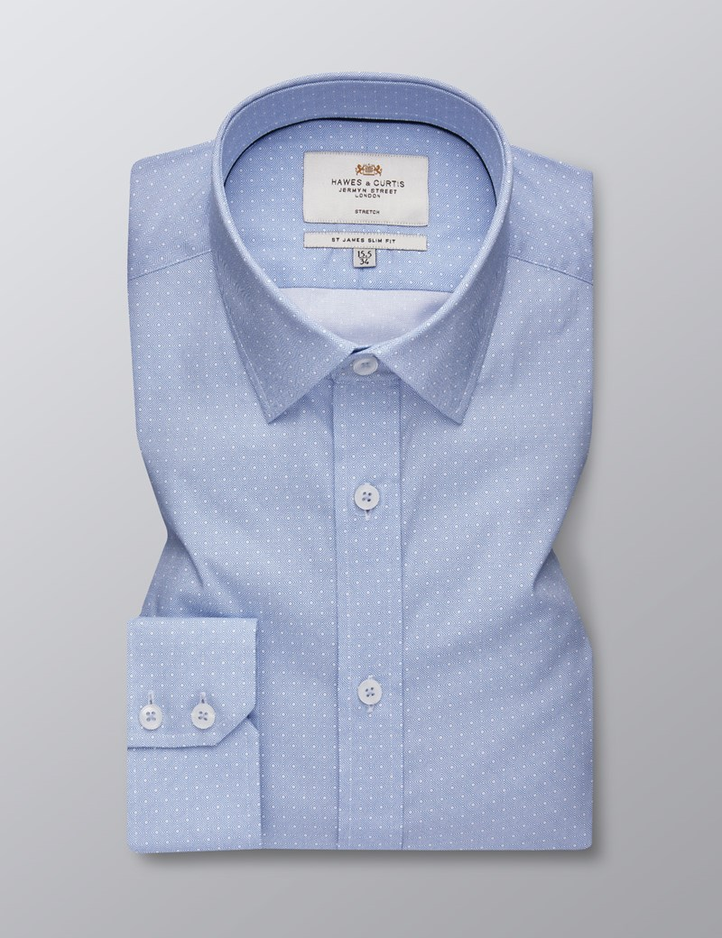 Men's Business Blue & White Greyson Geometric Print Slim Fit Cotton Stretch Shirt - Single Cuff