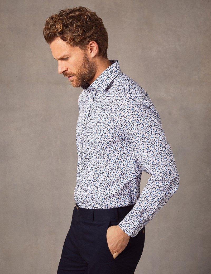 Men's Business Blue & White Victorial Floral Print Slim Fit Cotton Stretch Shirt - Single Cuff