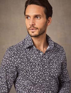 Men's Formal Navy & White Dante Leaves Print Slim Fit Cotton Stretch Shirt - Single Cuff