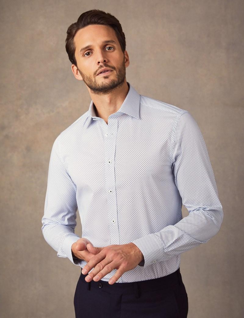 Men's Business Blue & White Spot Slim Fit Cotton Stretch Shirt - Single Cuff