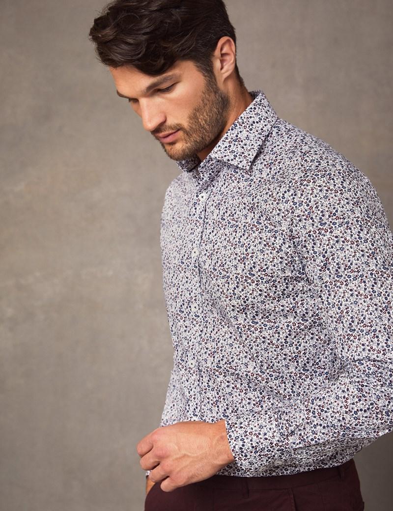 Business Stretchhemd – Slim Fit – Kentkragen – Florales Muster blau & rot