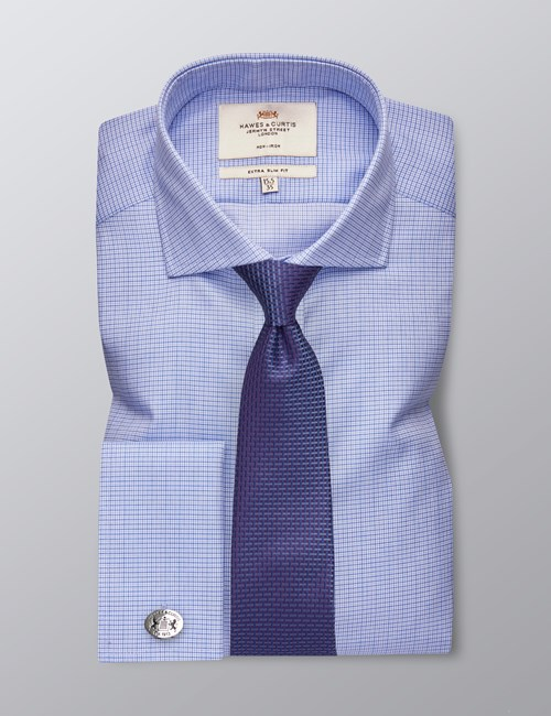 Men's Business Navy & Blue Grid Check Extra Slim Fit Shirt - Double Cuff - Non Iron
