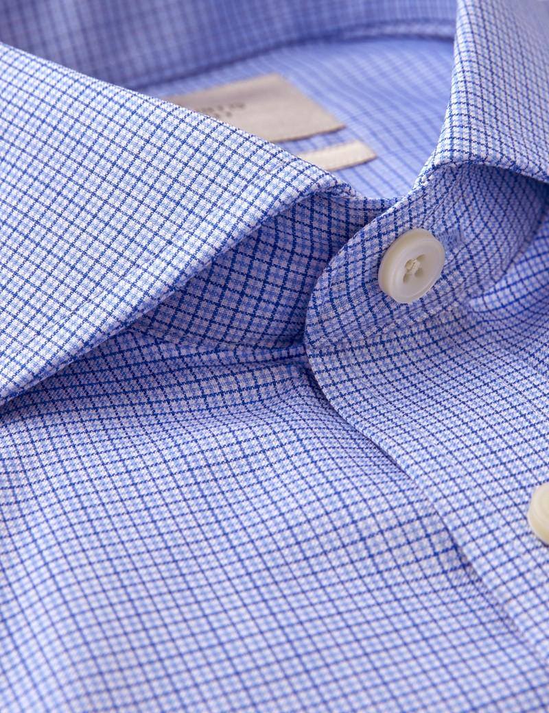 Men's Dress Navy & Blue Grid Plaid Extra Slim Fit Shirt - French Cuff - Non Iron
