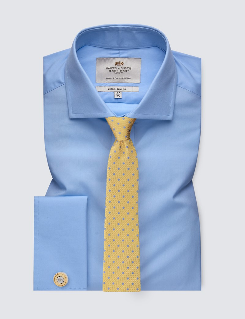 Men's Formal Blue Poplin Extra Slim Fit Shirt - Windsor Collar - Double Cuff - Easy Iron