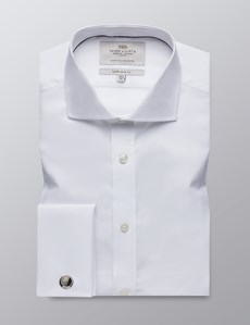Men's Business White Poplin Extra Slim Fit Shirt - Windsor Collar - Double Cuff - Easy Iron