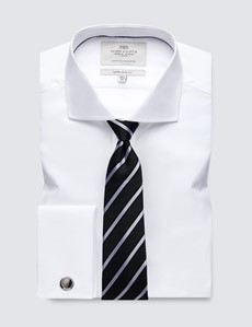 Men's Dress White Poplin Extra Slim Fit Shirt - Windsor Collar - French Cuff - Easy Iron