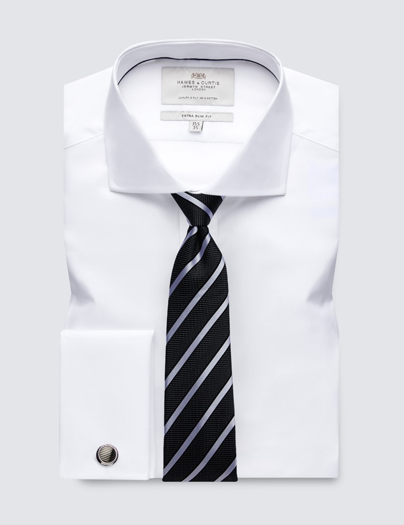 Men's Formal White Poplin Extra Slim Fit Shirt - Windsor Collar - Double Cuff - Easy Iron