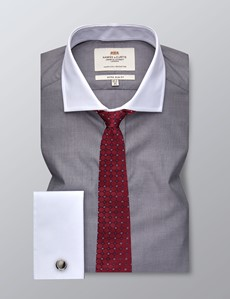 Men's Formal Grey End On End Extra Slim Fit Shirt - Double Cuff - Windsor Collar - Easy Iron