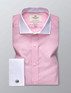 Men's Business Pink End On End Extra Slim Fit Shirt - Double Cuff - Windsor Collar - Easy Iron