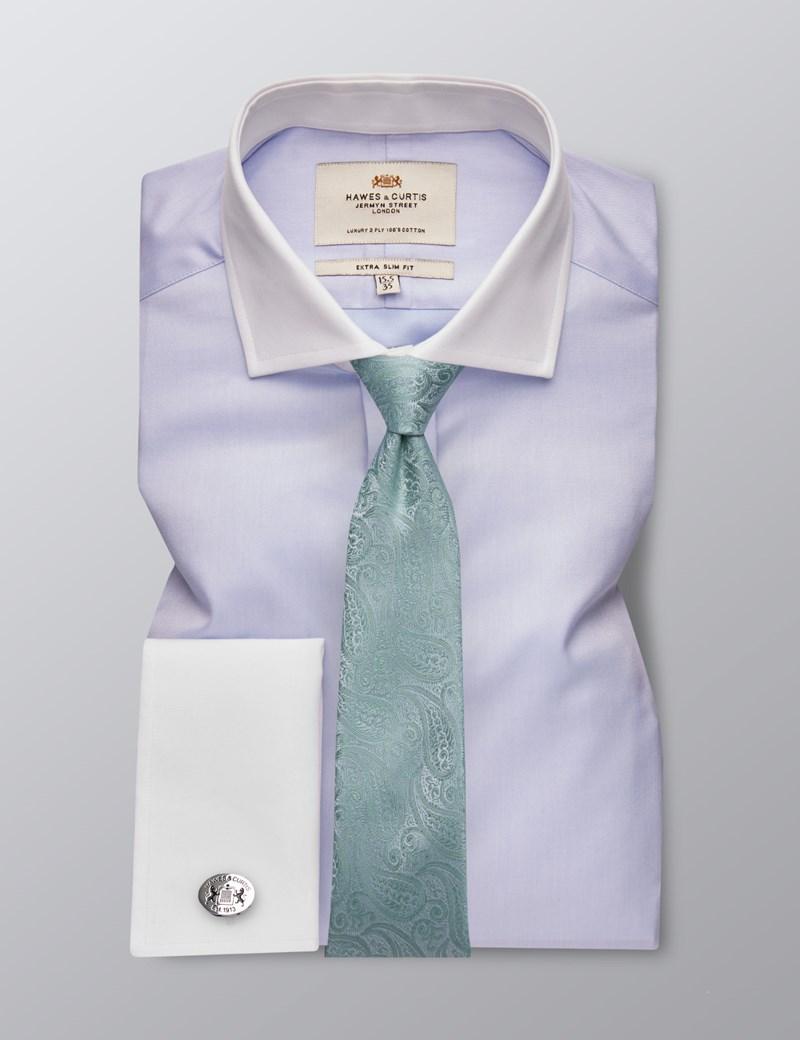 Men's Dress Blue Fine Twill Extra Slim Fit Shirt - French Cuff -  Windsor Collar - Easy Iron