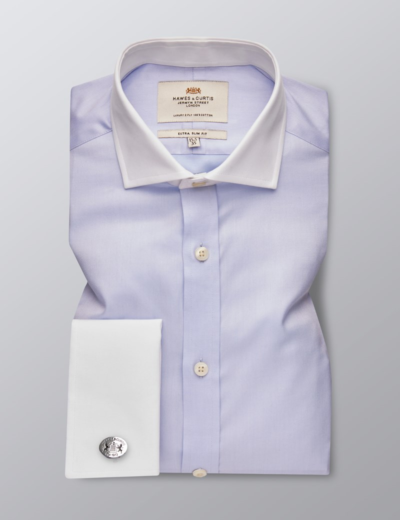 Men's Business Blue Fine Twill Extra Slim Fit Shirt - Double Cuff -  Windsor Collar - Easy Iron