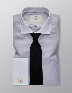 Men's Formal Grey Fine Twill Extra Slim Fit Shirt - Double Cuff - Easy Iron
