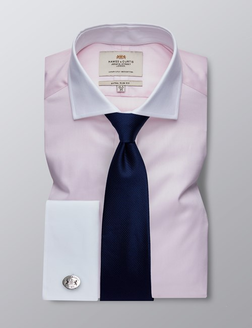 Men's Dress Pink Fine Twill Extra Slim Fit Shirt - French Cuff - Easy Iron