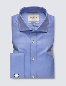 Men's Formal Blue Herringbone Extra Slim Fit Shirt - Windsor Collar - Double Cuff - Easy Iron