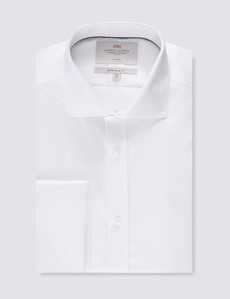 Men's Formal White Twill Extra Slim Fit Shirt - Windsor Collar - Double Cuff - Non Iron