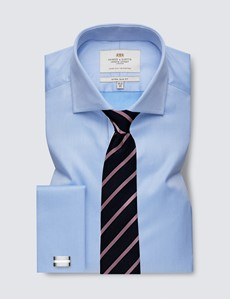 Men's Business Blue Pique Extra Slim Fit Shirt - Windsor Collar - Double Cuff - Easy Iron