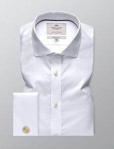 Men's Formal White Pique Extra Slim Fit Shirt - Windsor Collar - Double Cuff - Easy Iron