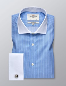 Men's Business Blue & White Stripe Extra Slim Fit Shirt - Double Cuff - Windsor Collar - Easy Iron