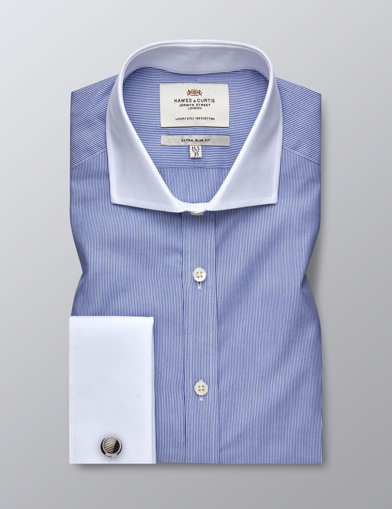 Men's Business Blue & White Fine Stripe Extra Slim Fit Shirt - Double Cuff - Windsor Collar - Easy Iron