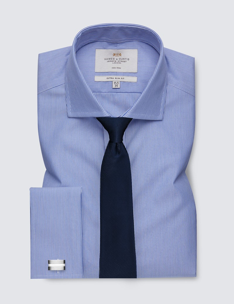 Men's Formal Blue & White Fine Stripe Extra Slim Fit Shirt - Double Cuff - Windsor Collar - Non Iron