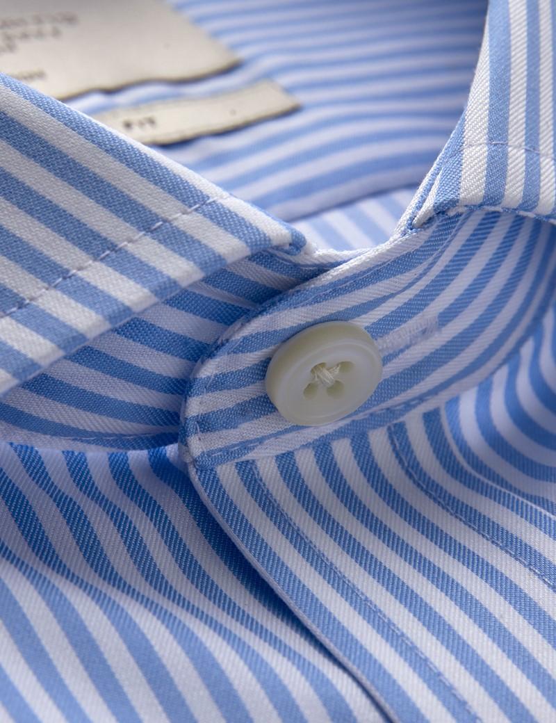 Bügelfreies Businesshemd - Extra Slim Fit - Manschetten - blau weiß gestreift