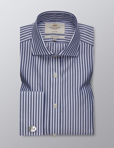 Men's Dress Navy & White Stripe Extra Slim Fit Shirt - French Cuff - Windsor Collar - Non Iron