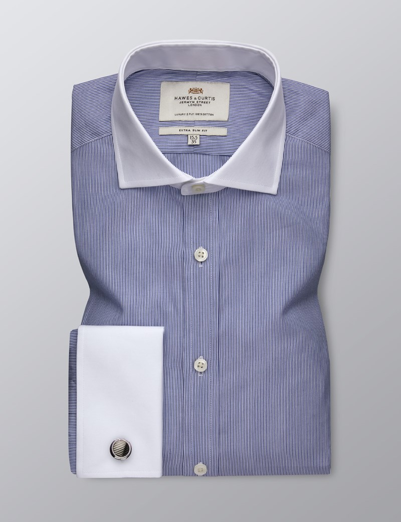 Men's Formal Blue Fine Stripe Extra Slim Fit Shirt - Double Cuff - Windsor Collar - Easy Iron