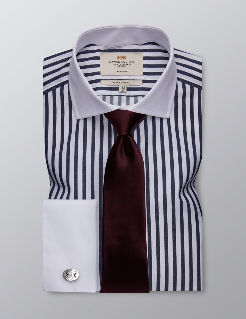 Men's Formal Navy & White Bengal Stripe Extra Slim Fit Shirt - Double Cuff - Windsor Collar - Non Iron