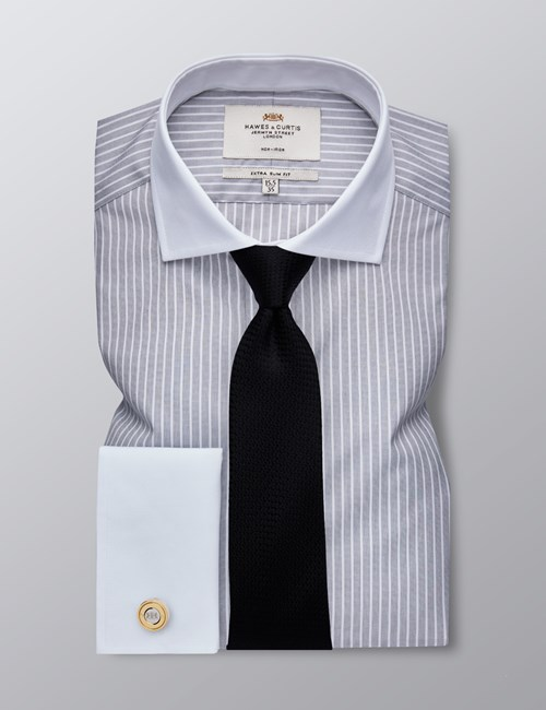 Men's Dress Grey & White Stripe Extra Slim Fit Shirt - French Cuff - Windsor Collar - Non Iron