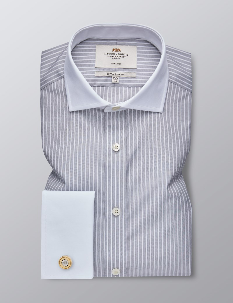 Men's Formal Grey & White Stripe Extra Slim Fit Shirt - Double Cuff - Windsor Collar - Non Iron