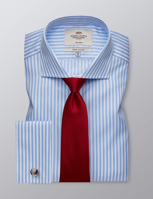 Men's Dress Light & White Textured Stripe Extra Slim Fit Shirt - French Cuff - Windsor Collar - Non Iron