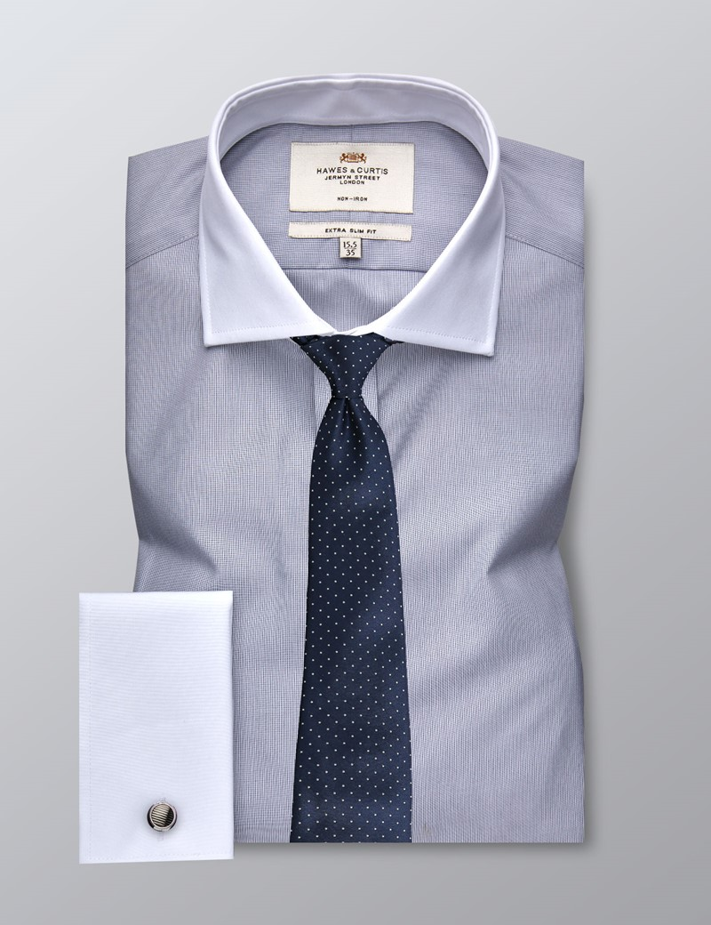 Men's Formal Grey & White Fine Stripe Extra Slim Fit Shirt - Double Cuff - Windsor Collar - Non Iron
