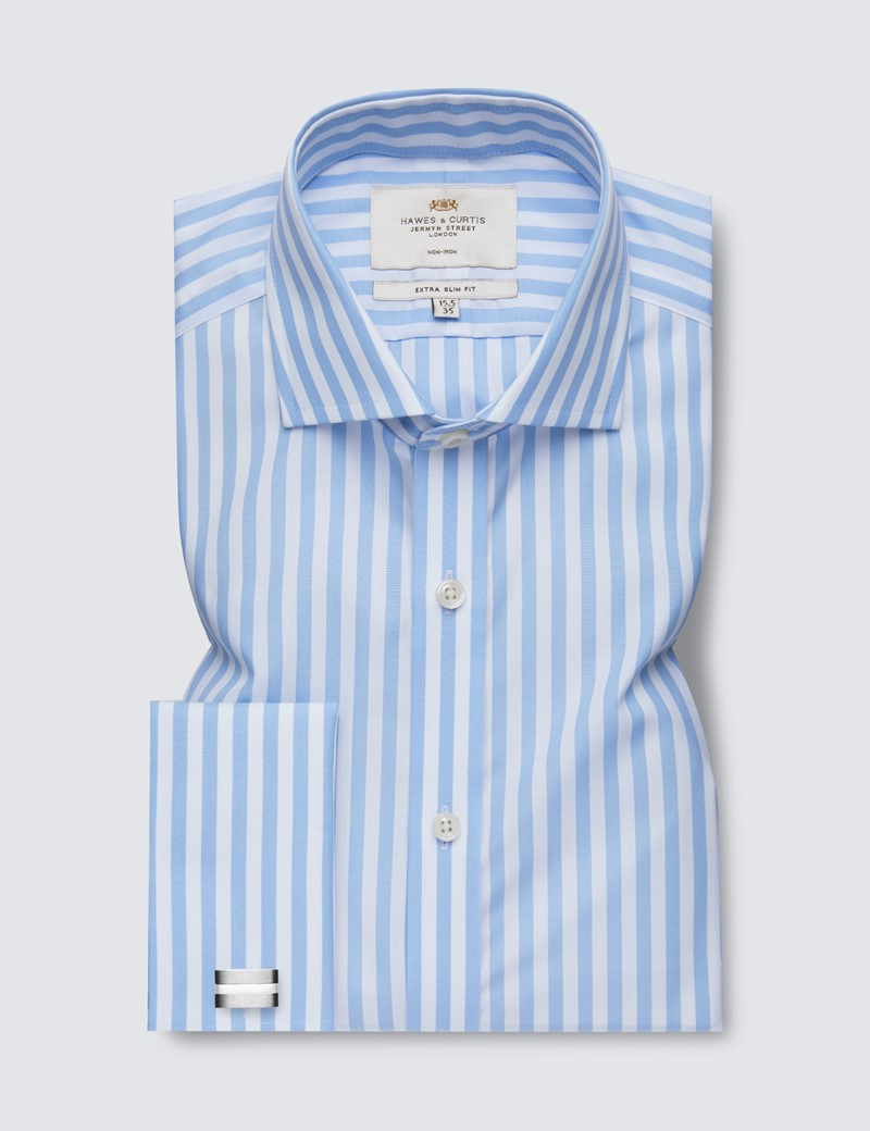 Men's Formal Blue & White Bold Stripe Extra Slim Fit Shirt - Windsor Collar - Double Cuff - Non Iron