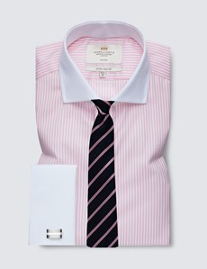 Men's Formal Pink & White Bengal Stripe Extra Slim Fit Shirt - Windsor Collar - Double Cuff - Non Iron