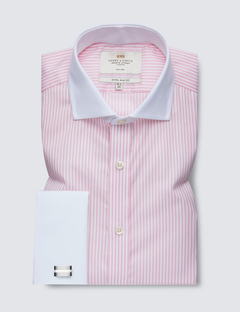 Men's Dress Pink & White Bengal Stripe Extra Slim Fit Shirt - Windsor Collar - French Cuff - Non Iron