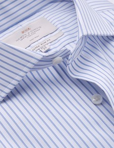 Men's Business Blue & White Coloured Stripe Extra Slim Fit Shirt - Double Cuff - Windsor Collar - Non Iron