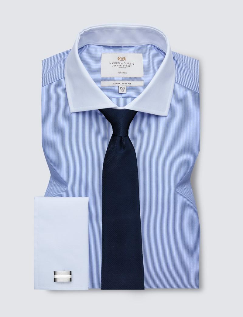 Non Iron Blue & White Fine Stripe Extra Slim Fit Shirt - Double Cuffs - Windsor Collar
